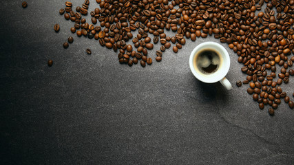 Printed roller blinds Cafe Banner top view of coffee beans and cup on a dark ardesia table