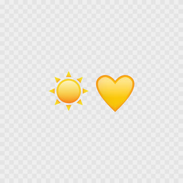 Sun and heart emojis. Love heart emoji. Yellow icons. Vector