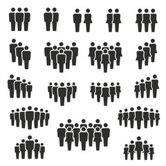 people and population icon set, vector and illustration