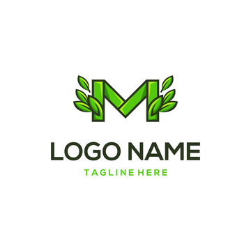 Letter M Leaves Organic Abstract Creative Illustration Business Modern Logo