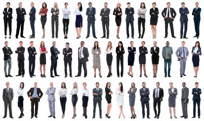 collage of a variety of business people standing in a row Fotobehang