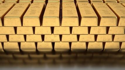 Fototapete - 1000g Goldbarren in einer Bank