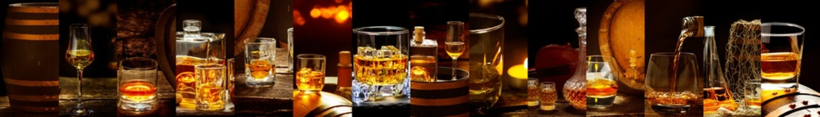 Banner with many different whiskey images, Whiskey in a glass, in bottles, in a barrel Fototapete