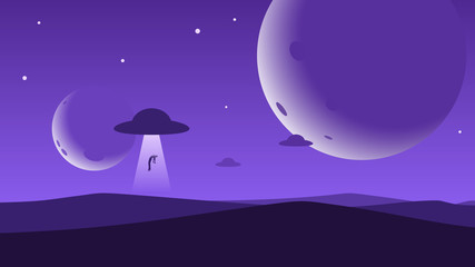 Minimalist mountain landscape background, UFO abducts a man, planets or moons in the night sky. Abstract sunset surface, unidentified flying objects floating over the sand desert. Vector illustration