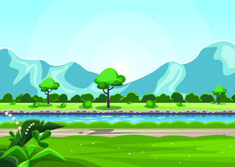 Foto op Canvas Lichtblauw Nature landscape with river, mountain, tree and green grass. Blue sky with bright sun. Vector flat style, designer picture. Beautiful fields with flowers and bushes.