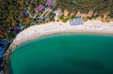 Wall Mural - Aerial top down view of Nai Harn beach at sunny day, Phuket island, Thailand