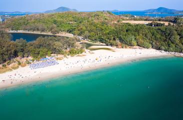 Wall Mural - Aerial view of Nai Harn beach at sunny day, Phuket island, Thailand