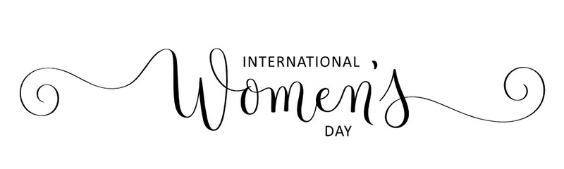 INTERNATIONAL WOMEN'S DAY black vector brush calligraphy banner with spirals