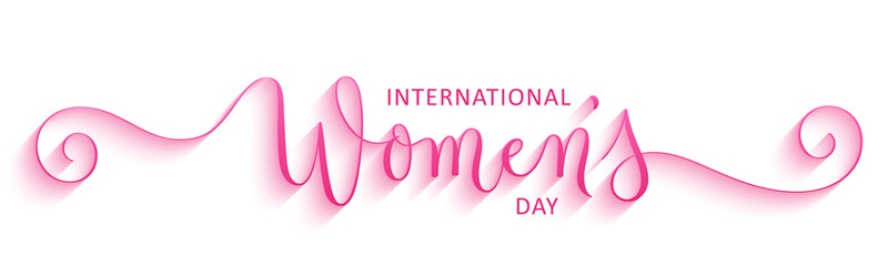 INTERNATIONAL WOMEN'S DAY pink vector brush calligraphy banner with spirals
