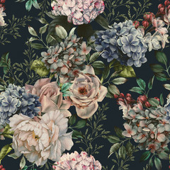 Seamless floral pattern with flowers on dark background, watercolor. Template design for textiles, interior, clothes, wallpaper. Botanical art - 329295688