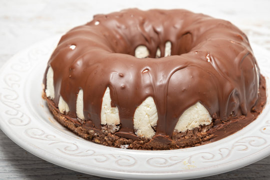 Chocolate and coconut ring cake