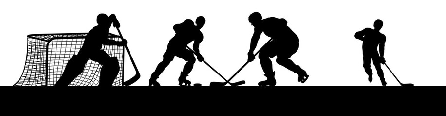 Ice hockey players in silhouette playing a match game scene