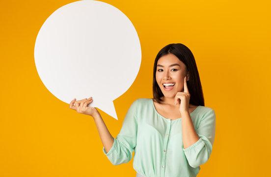Girl Having Idea Holding Speech Bubble On Yellow Background, Mockup