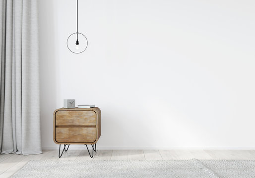 Wooden nightstand in the loft style with curtains on a white wall background
