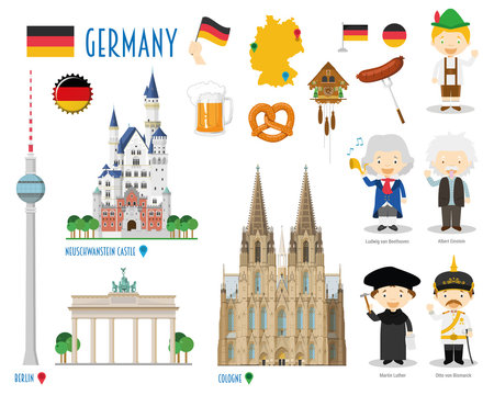 Germany Flat Icon Set Travel and tourism concept. Vector illustration