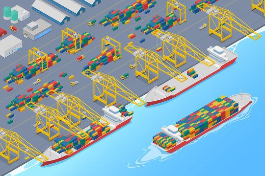 Port cranes in dock loading containers into cargo ship and unloading barge, shipping marine harbor warehouse isometric vector illustration