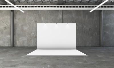 exhibition booth 3d rendering Fotobehang
