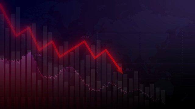 Coronavirus stock market crisis illustration. Global economy crisis concept background.