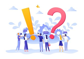 People Characters Standing near Exclamations and Question Marks. Woman and Man Ask Questions and receive Answers. Online Support center. Frequently Asked Questions Concept. Flat EPS 10 Illustration.