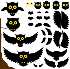 Wall Murals Owls cartoon set of black owls. wings and tails. mini owl.