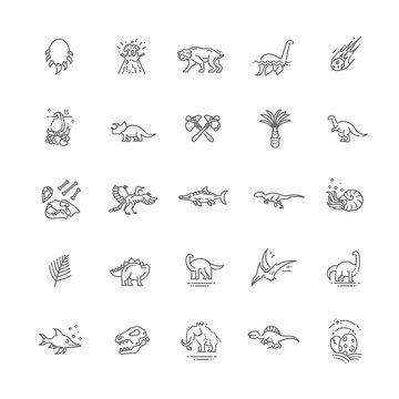 Dinosaurs thin line vector icon set