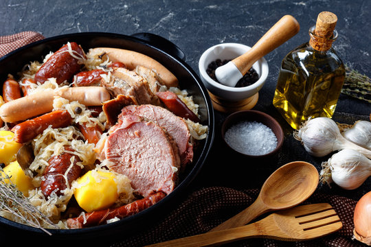 French choucroute garnie with pork loin, sausages