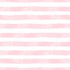 Vector aquarelle rayures rose et blanc sans couture. Répéter l& 39 arrière-plan dessiné à la main.