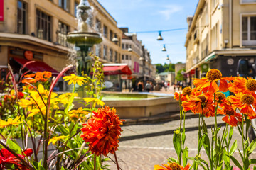 Fountain on the street in the center of Beauvais, France