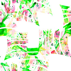 Photo sur Plexiglas Dinosaurs Stripes, lines painted in shades of watercolor pink, yellow, white. Vintage seamless floral background, watercolor. Herbs, flowers, poppy. Stylish, creative background. Abstract paint splash. Art