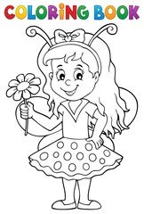 Fotorolgordijn Voor kinderen Coloring book ladybug girl theme 1