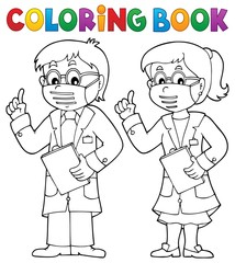 Fotorolgordijn Voor kinderen Coloring book two advising doctors