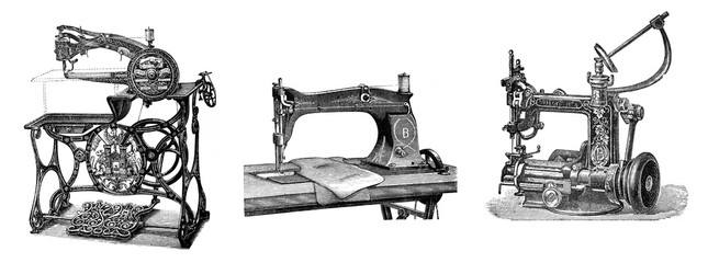 Collage of antique sewing machines/ Antique illustration from Brockhaus Konversations-Lexikon 1908