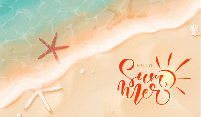 Summer banner.Top view of the sea tide, starfish and sand.Beach holiday.Vector illustration