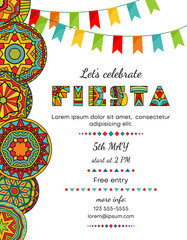 Lets celebrate fiesta announcing poster template with festive decorative elements.