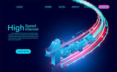 High Speed Internet Concept. 1 Gbps in global broadband networks speed. isometric flat design vector illustration Fotobehang