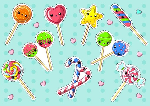 Kawaii Cute Lollipop with Cute Eyes and Smiling Face Flat Cartoon Vector Illustration. Heart and Star Shaped, Colorful Spiral Candy Cane. Christmas Sweets Isolated on Dotted Background.