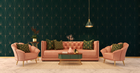 Classic interior Art deco style.Sofa,chairs,table with lamp.Marble floor and rug.3d rendering