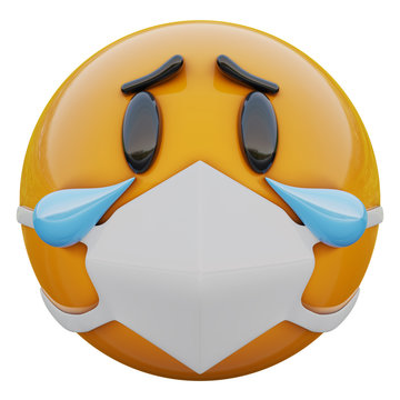 3D render of crying sad yellow emoji face in medical mask protecting from coronavirus 2019-nCoV, MERS-nCoV, sars, bird flu and other viruses, germs and bacteria and contagious disease.
