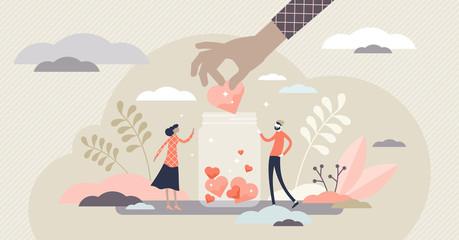 Fototapeta Support concept, flat tiny volunteer persons vector illustration obraz