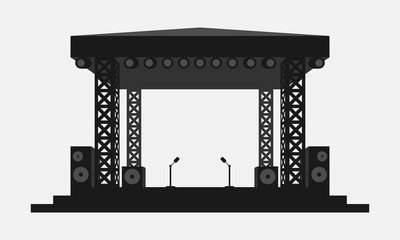 Outdoor concert stage black and white vector icon. Simple flat music equipment pictogram. Podium symbol. - fototapety na wymiar