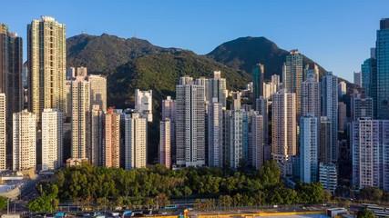 Fotomurales - Aerial city view of Hong Kong city at afternoon