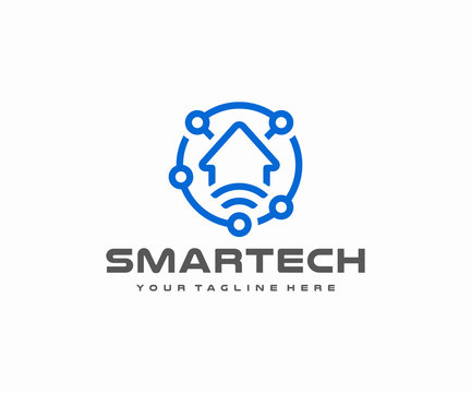 Smart home automation logo design. Remote home control system vector design. Internet of things logotype