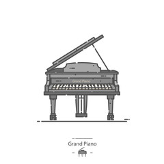 Grand Piano - Line color icon