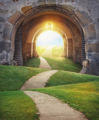 Zelfklevend Fotobehang Landschap Fairy magic enchanted landscape with road and Mysterious gate entrance