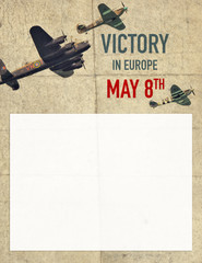 Poster background for UK Victory Day in Europe with historical British aircrafts