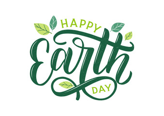 Happy Earth Day hand lettering logo decorated by leaves. Earth Day 2020 typography logo. Earth Day enviromental and eco activism vector concept EPS 10