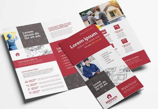 Trifold Brochure Layout for Construction Professionals