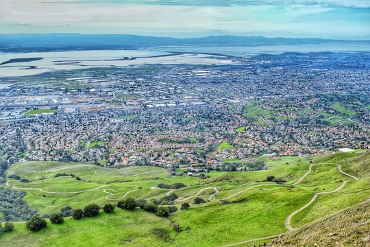 Milpitas City view from the top of Mission Peak, near San Jose, California