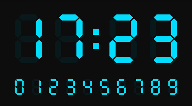 Digital led numbers. Electronic or digital clock counter with led figures