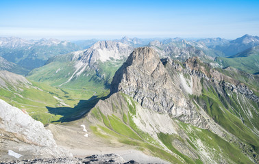 Fotobehang Pistache Idyllic summer landscape in the Alps